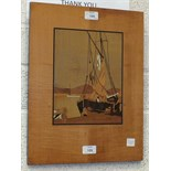 A marquetry picture of a sailing boat beside a quay, 41.5 x 32.5cm overall, by F R Shadbolt &