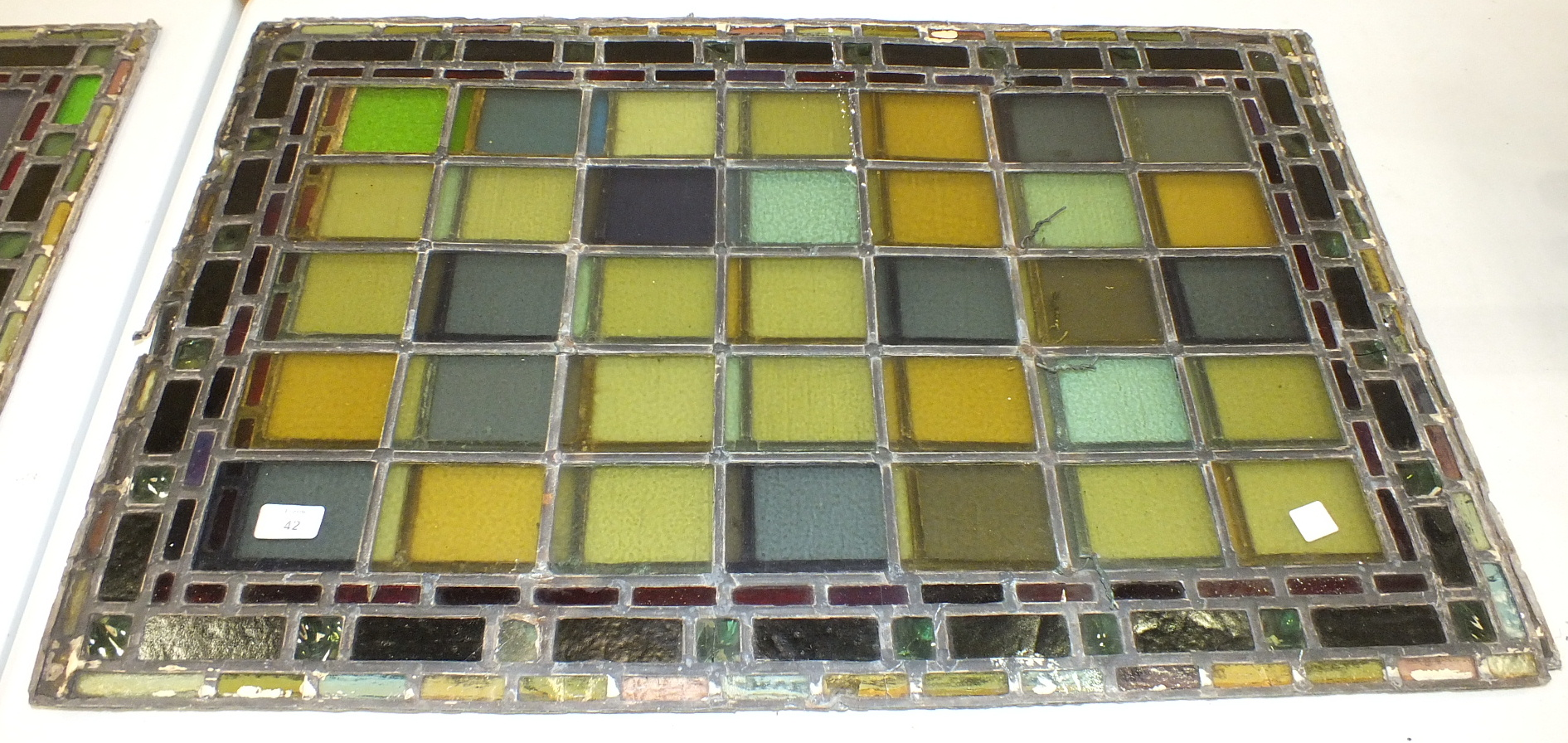 A pair of leaded-light window panels comprising thirty-five various coloured panels and multiple - Image 4 of 7
