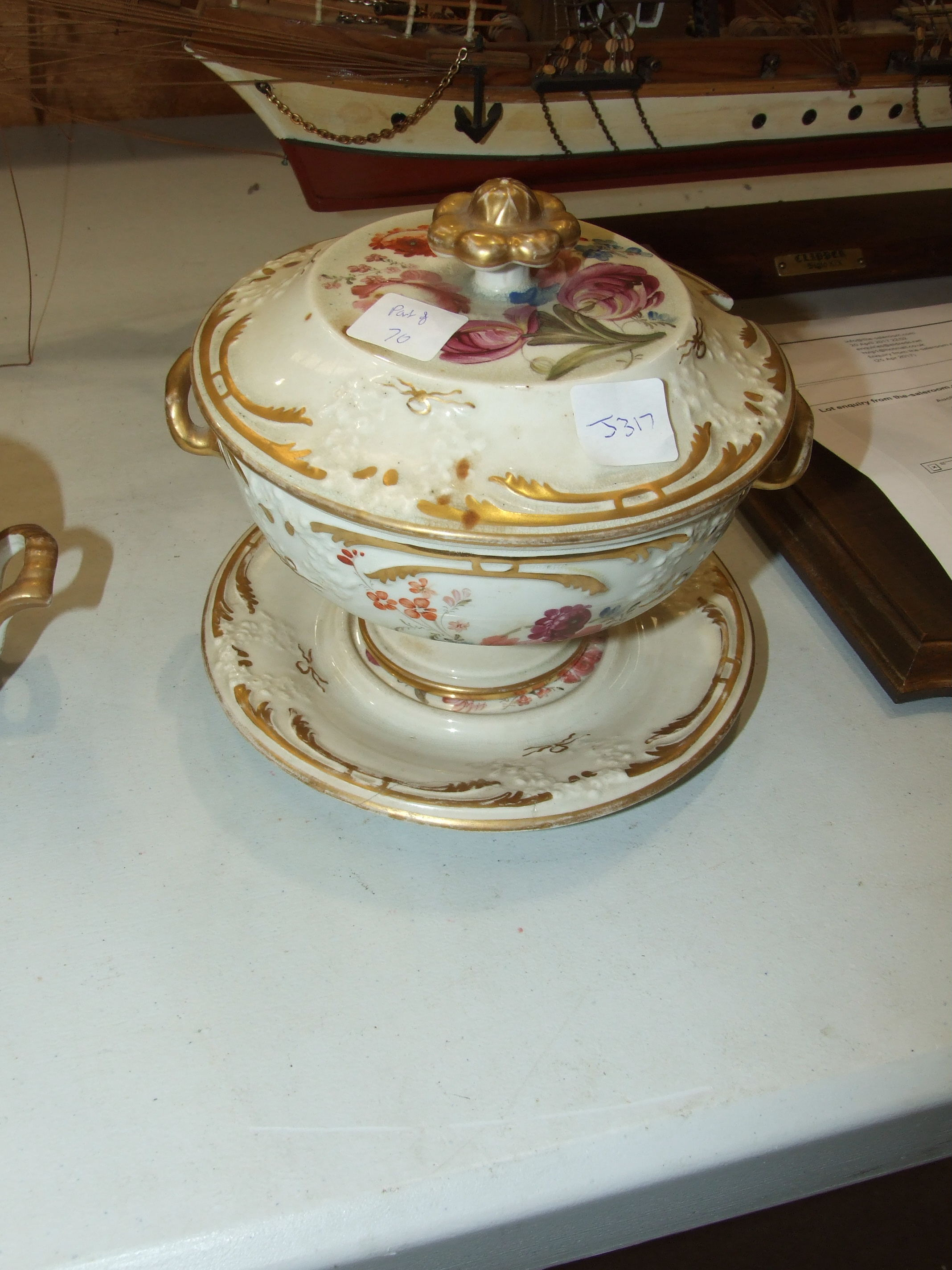 A 19th century porcelain sugar bowl and cover painted with roses and gilt, 11cm high, a Wedgwood - Image 2 of 8