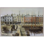 T Bailey, 'South Quay, The Barbican', a signed watercolour, titled Barbican Gallery label verso,