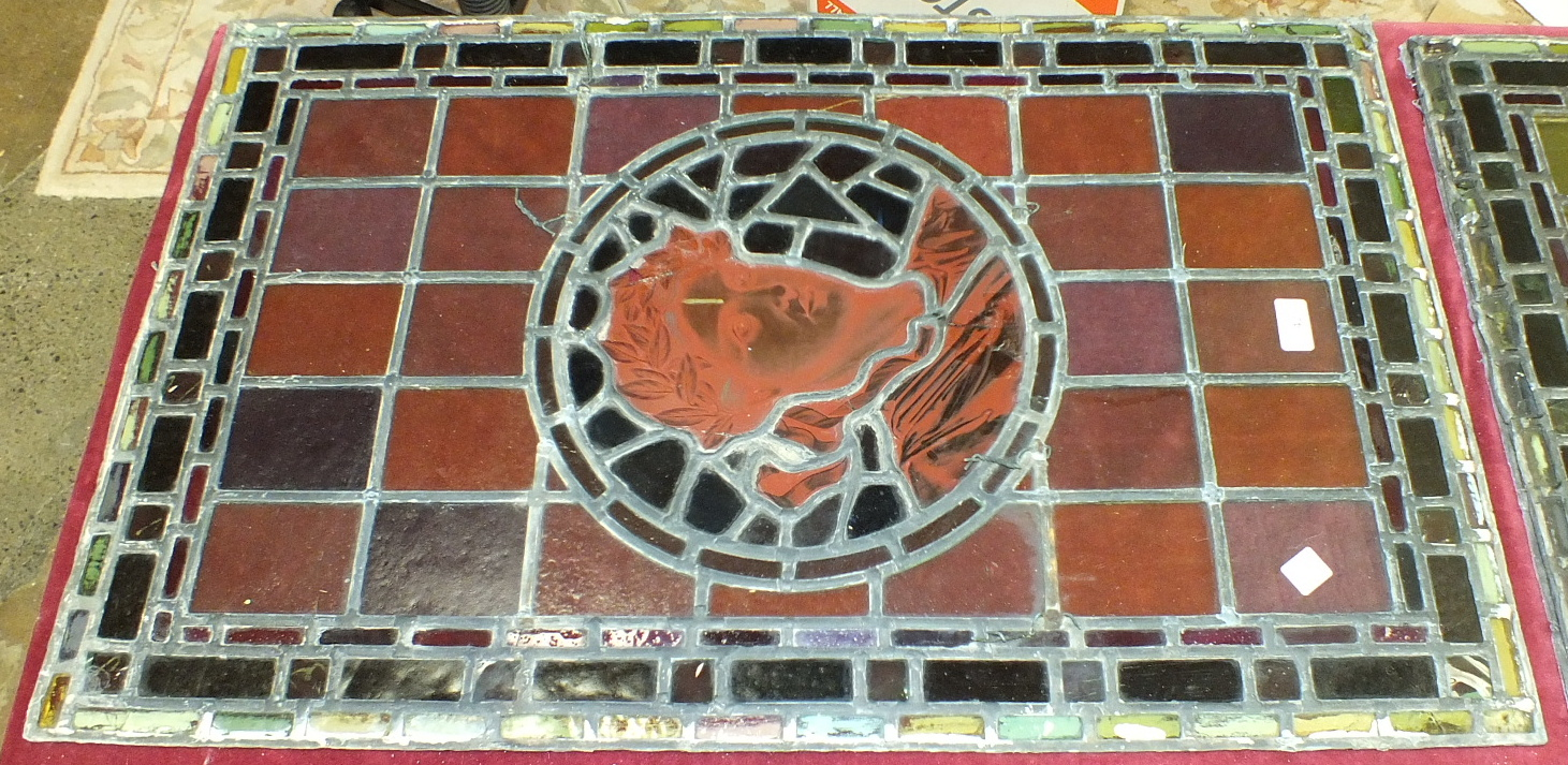 A pair of leaded-light window panels comprising thirty-five various coloured panels and multiple - Image 2 of 7