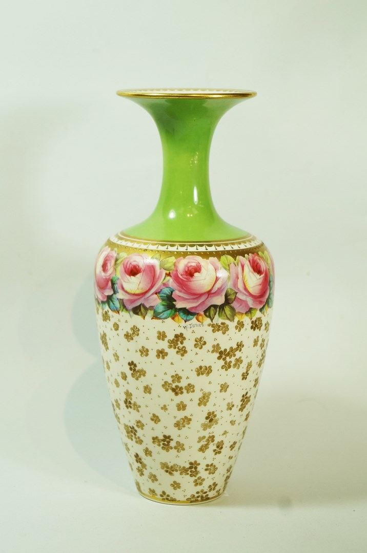 Lot 39 - A Keeling and Co., Late Mayers pottery vase painted with a band of roses, by W.