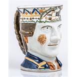 "A Prattware ""Admiral Rodney"" mug, probably late 18th Century,"