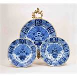 A Dutch Delft blue and white circular shallow dish, probably Three Bells Factory,