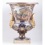 A large and impressive Derby campana shape urn, early 19th Century, royal blue ground, puce banding,