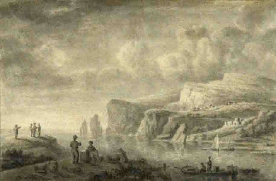 Lot 357 - Anthony Devis The Needles, Isle of Wight, initialled, en grisaille watercolour, 17 x 26cm.