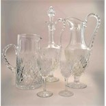 A part suite of French table crystal, St Louis, including a decanter and stopper, height 41cm,