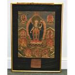 A Tibetan Thangka, 18th or 19th Century, of White Tara, painted on cloth, 46cm x 38cm, visible,