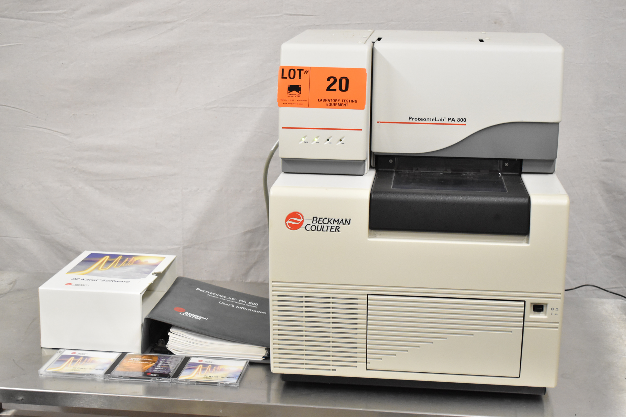 BECKMAN COULTER PROTEOMELAB PA800 PROTEIN CHARACTERIZATION SYSTEM WITH 32 KARAT VER 8.0 CD'S,