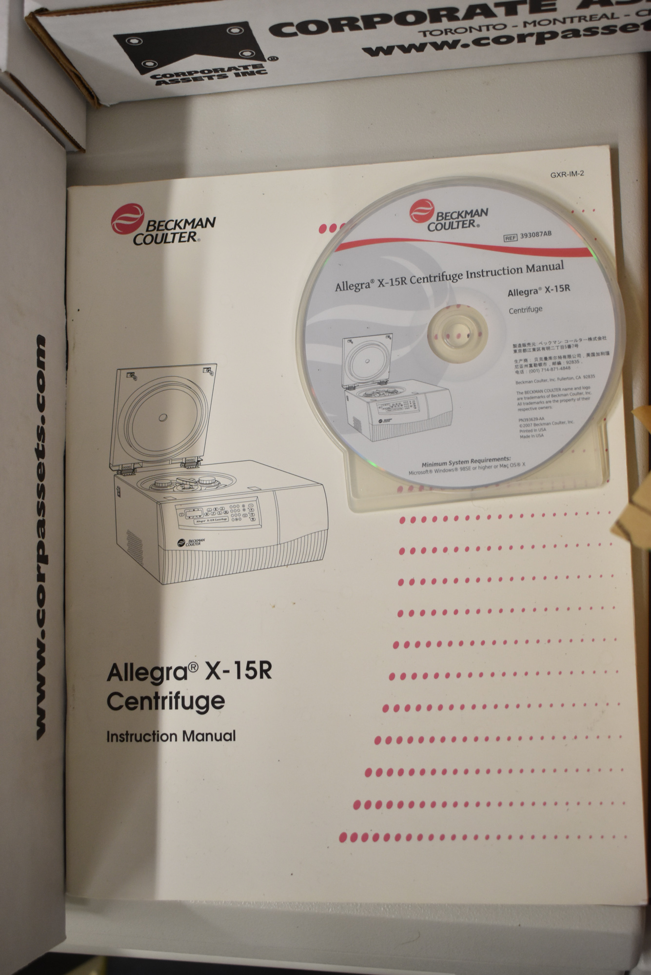 BECKMAN COULTER ALLEGRA X-15R BENCHTOP CENTRIFUGE WITH DIGITAL PROGRAMMABLE MICROPROCESSOR - Image 14 of 14