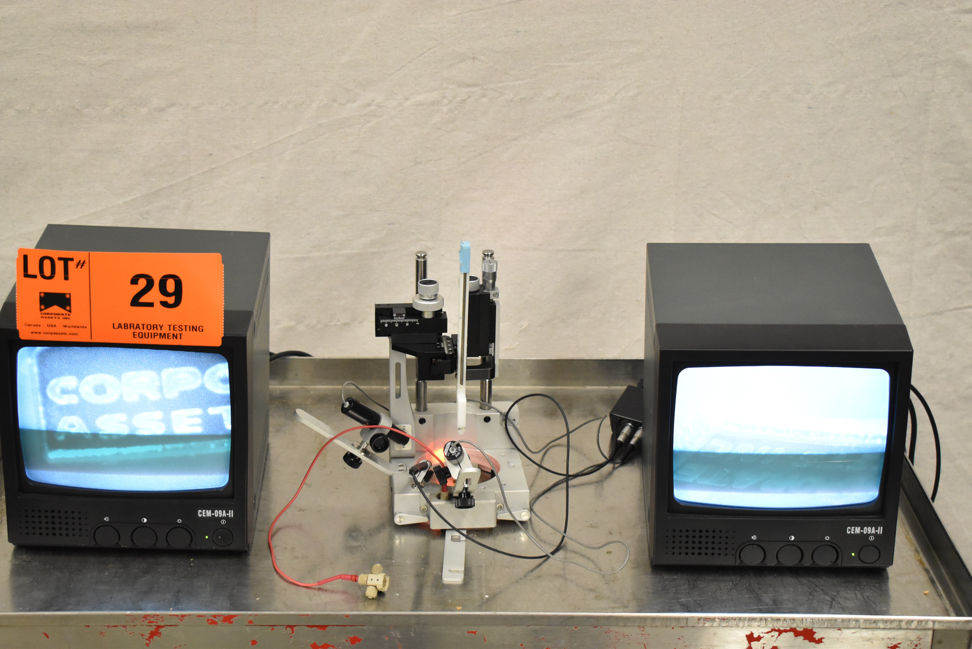 """LOT/ PRECISION CAMERA INSPECTION SYSTEM WITH (2) 9"""" CCTV MONITORS, (2) JAPAN MTF MICRO CAMERAS, - Image 10 of 15"""