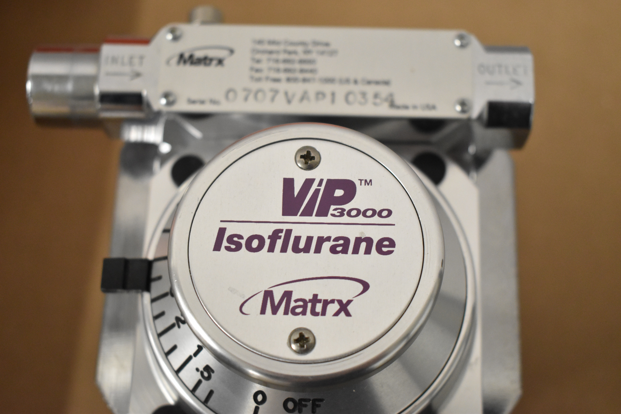 MATRIX VIP3000 ISOFLURANE VAPORIZER, S/N 070VAP10354 [$10 USD OPTIONAL LOADING FEE - CONTACT - Image 3 of 3