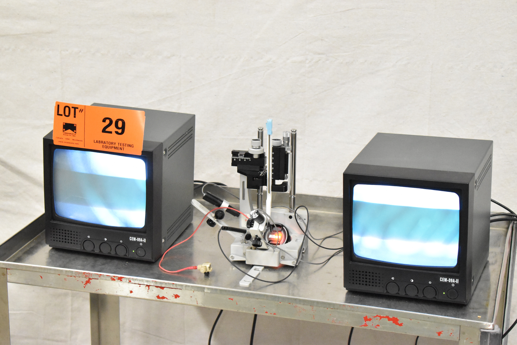 """LOT/ PRECISION CAMERA INSPECTION SYSTEM WITH (2) 9"""" CCTV MONITORS, (2) JAPAN MTF MICRO CAMERAS, - Image 3 of 15"""