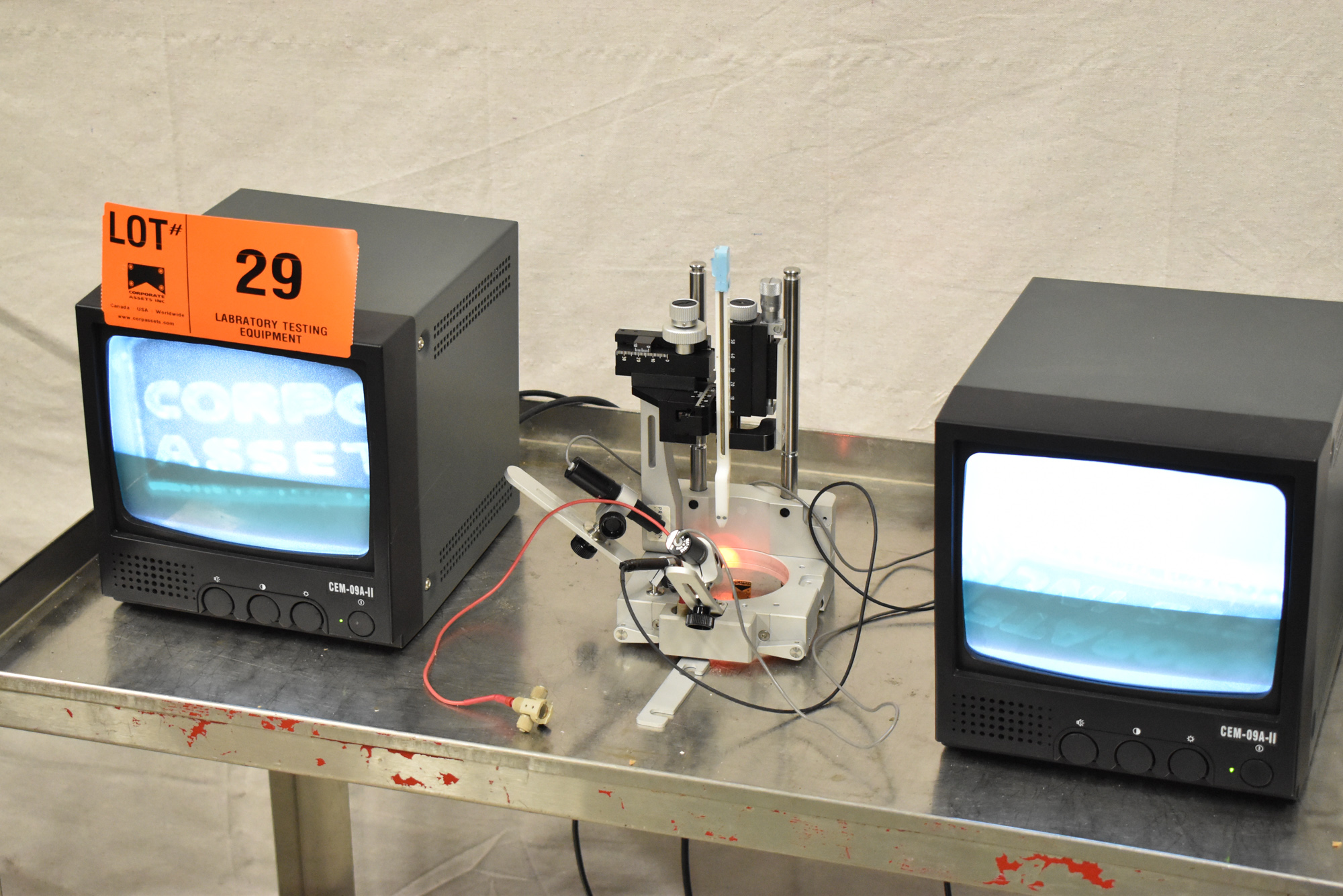 """LOT/ PRECISION CAMERA INSPECTION SYSTEM WITH (2) 9"""" CCTV MONITORS, (2) JAPAN MTF MICRO CAMERAS, - Image 11 of 15"""