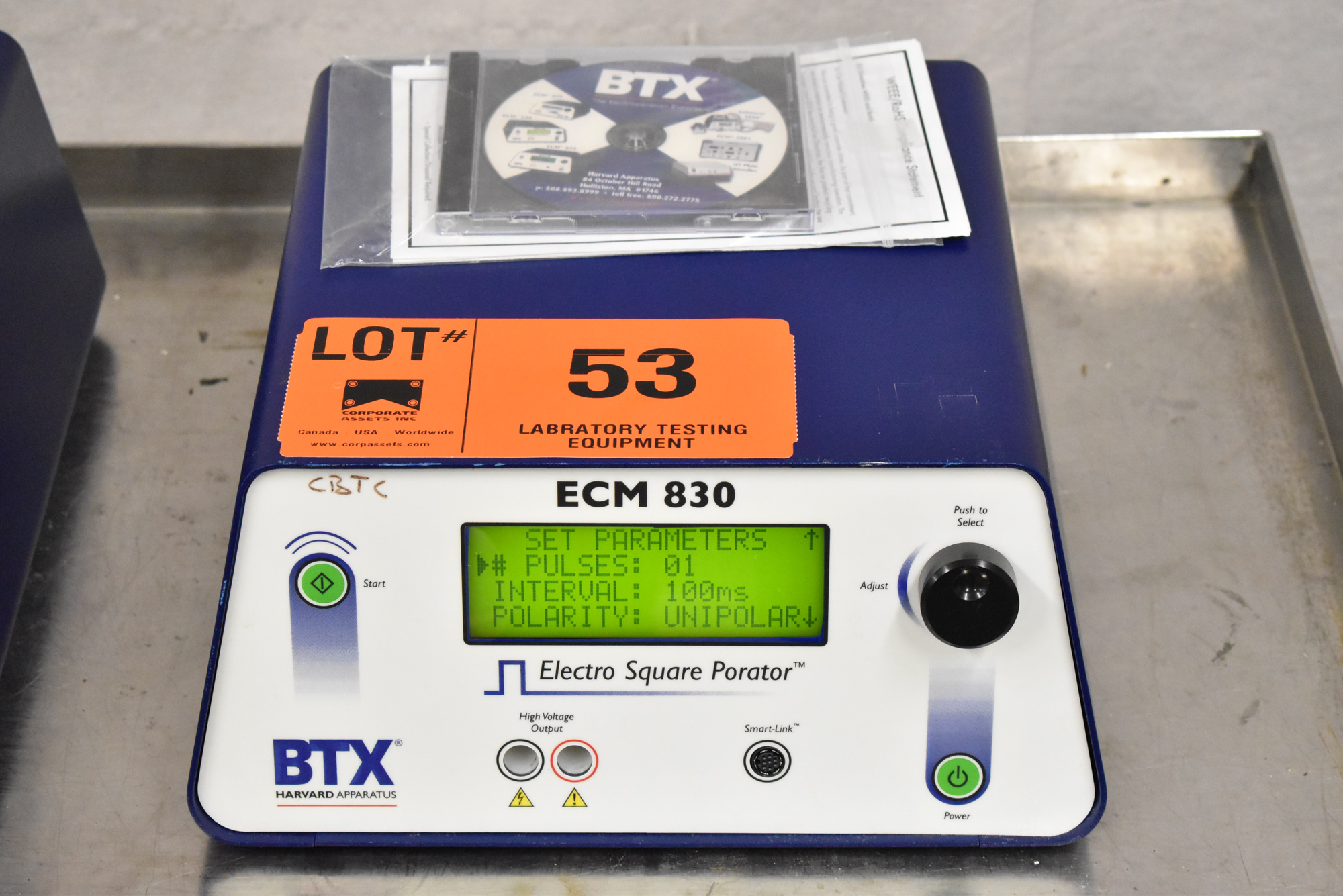 BTX ECM830 BENCH TYPE DIGITAL ELECTRO SQUARE PRORATOR, S/N N/A [$25 USD OPTIONAL LOADING FEE - - Image 3 of 4