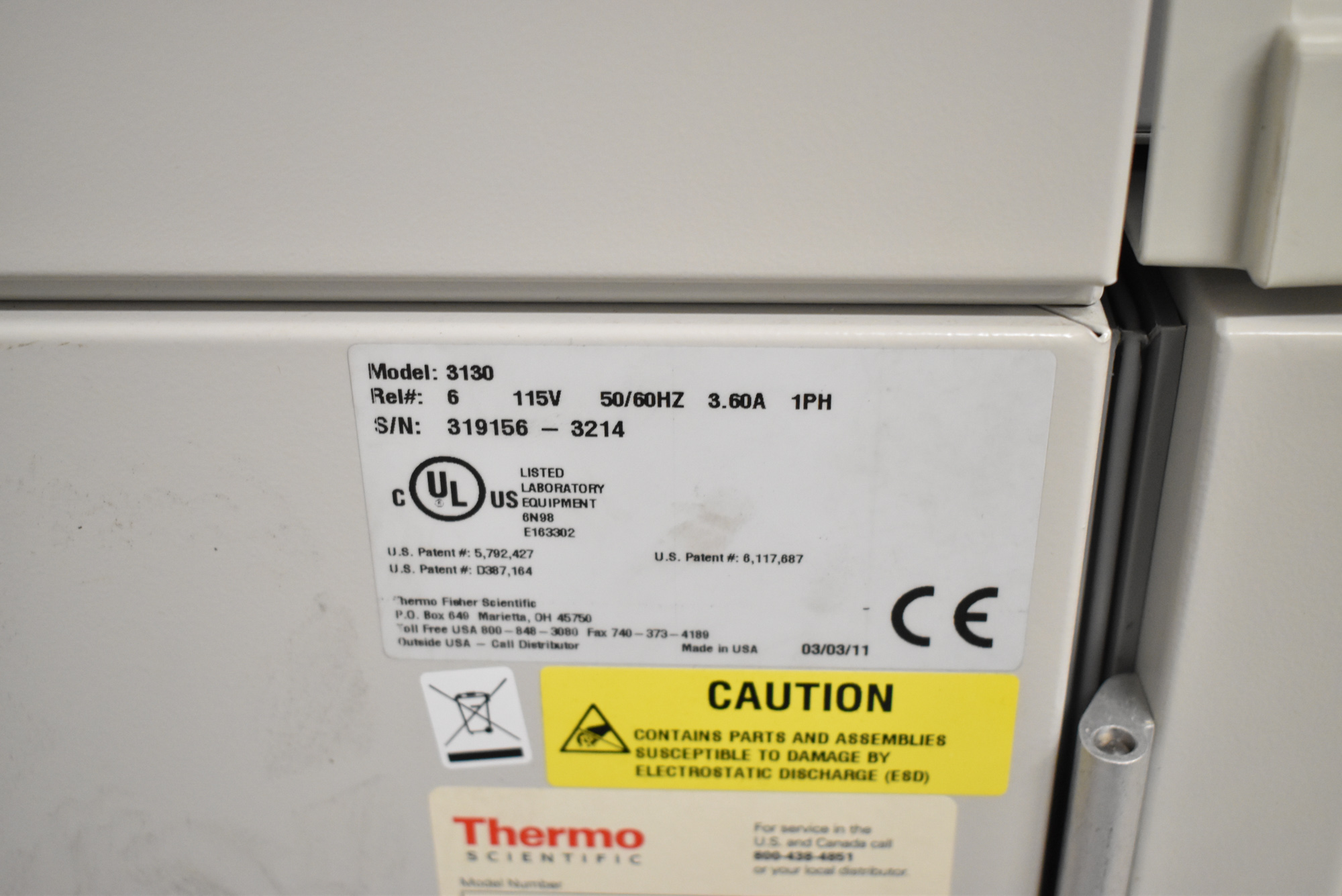 THERMO SCIENTIFIC 3130 FORMA SERIES II WATER JACKET CO2 INCUBATOR WITH DIGITAL MICROPROCESSOR - Image 8 of 8
