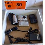 LOT/ DIGITAL PHOTO AND VIDEO CAMERAS WITH CHARGERS, S/N N/A