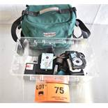 LOT/ CAMERAS, ACCESSORIES AND CARRY CASE [$10 USD OPTIONAL LOADING FEE - CONTACT PICKUP@CORPASSETS.