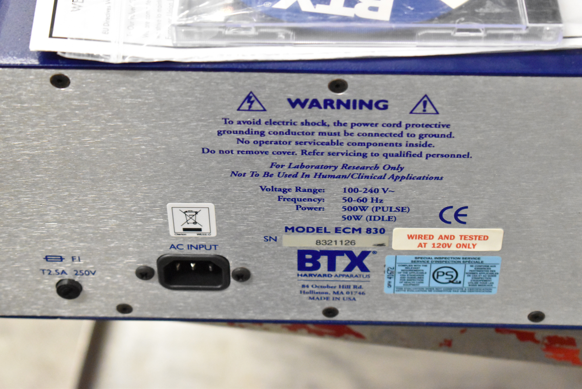 BTX ECM830 BENCH TYPE DIGITAL ELECTRO SQUARE PRORATOR, S/N N/A [$25 USD OPTIONAL LOADING FEE - - Image 4 of 4