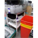 Stainless steel preparation table. Dimensions: 2ft x 2ft x 3ft