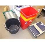 Assortment of plastic bins
