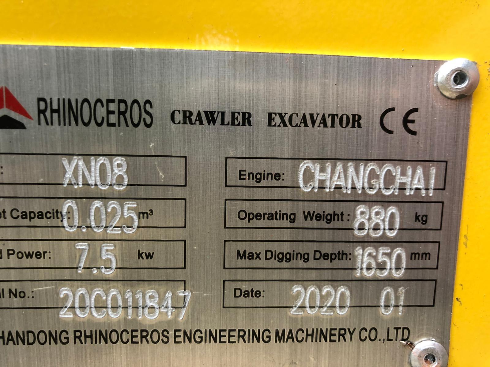 Lot 81 - 2020 NEW & UNUSED MINI TRACKED EXCAVATOR MICRO RHINOCEROS XN08 C/W 3 X BUCKETS & GRAPPLE *PLUS VAT*
