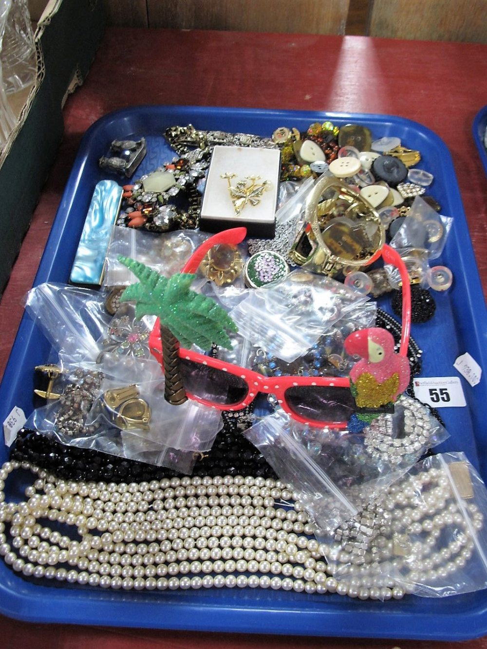 Lot 55 - Assorted Costume Jewellery, including imitation pearls, brooches, buttons, folding comb, novelty