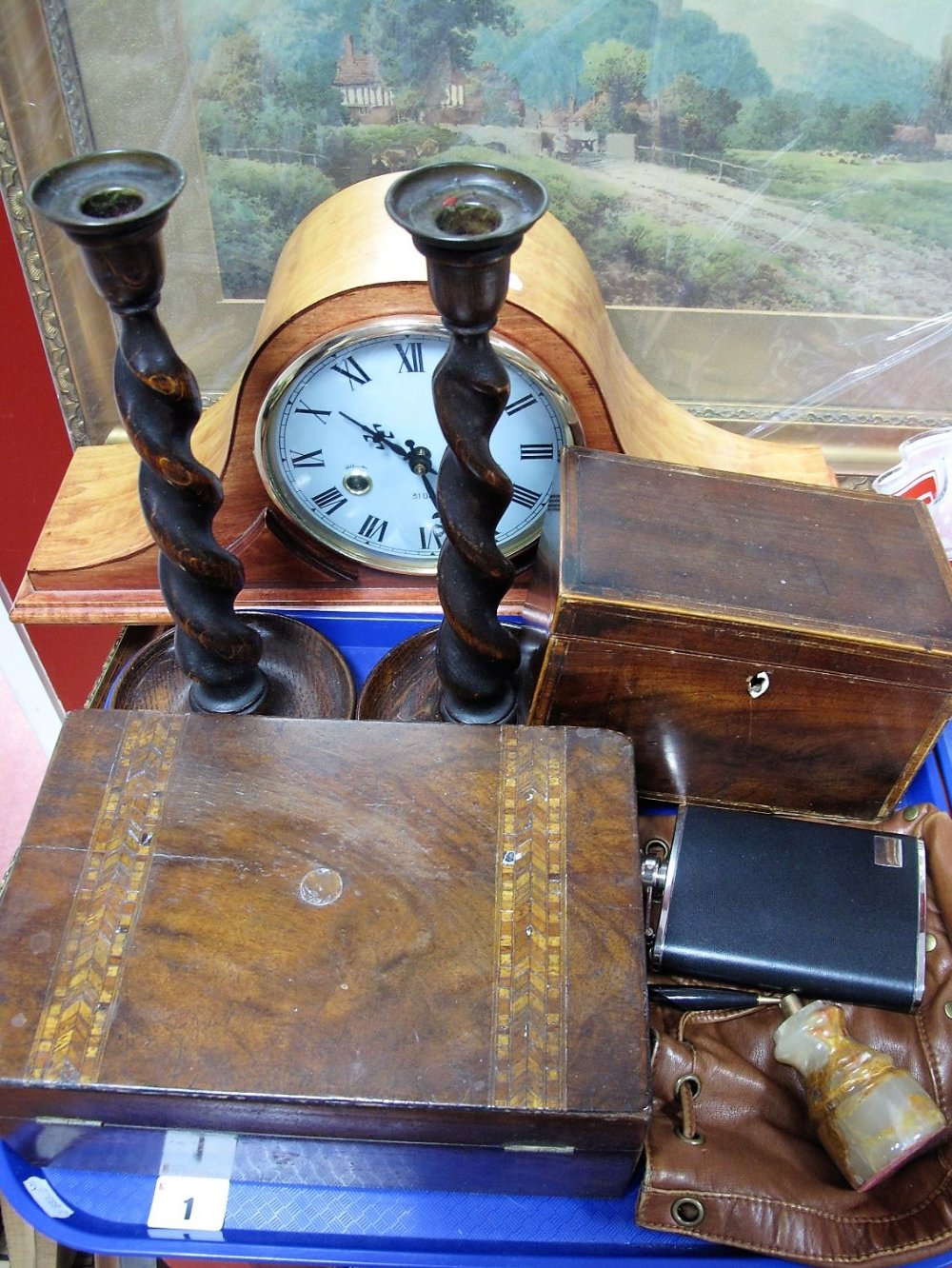 Lot 1 - A Georgian Mahogany Tea Caddy, of rectangular form, a Victorian workbox, pair of oak barley twist