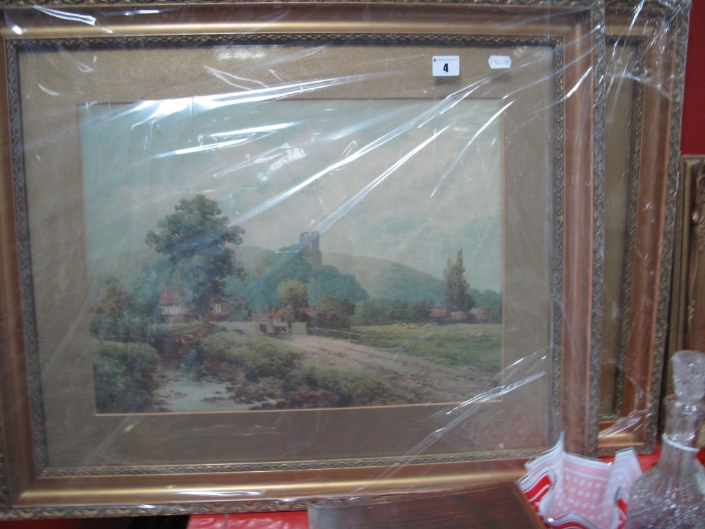 Lot 4 - Two Late XIX Century Chromolithographic Prints, depicting 'Isleworth' and Bramber Castle, both after