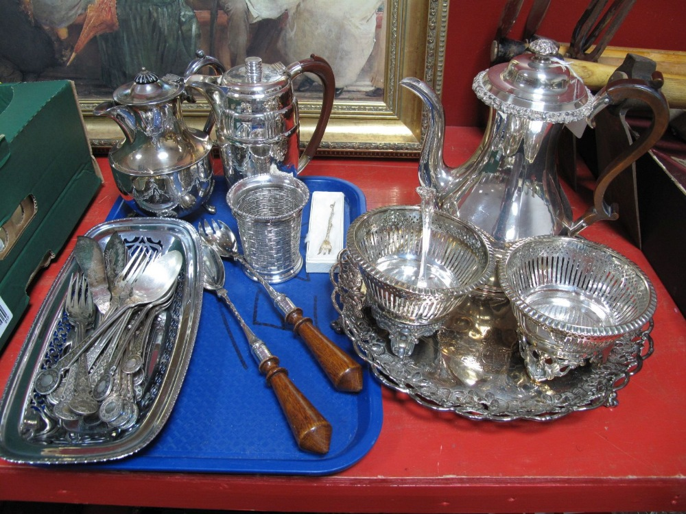 """Lot 17 - """"Period Pewter"""" Coffee Pot, of planished finish, wood handled servers, plated cutlery, circular"""