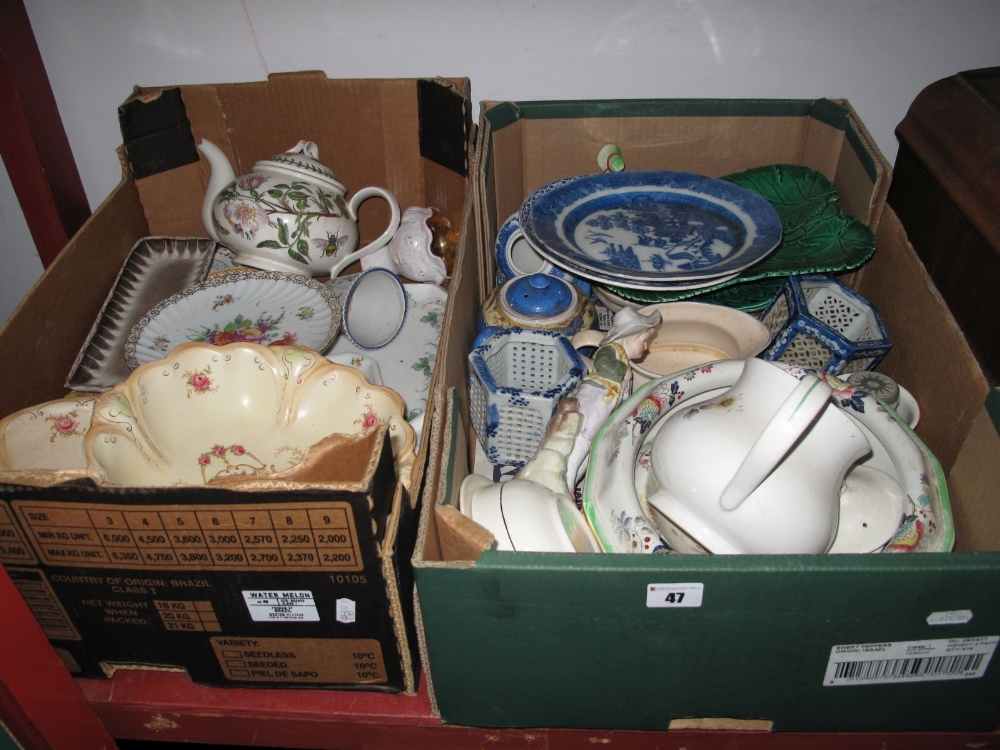 Lot 47 - Wedgwood Plates, Portmeirion teapot, other ceramics (some damages):- Two Boxes