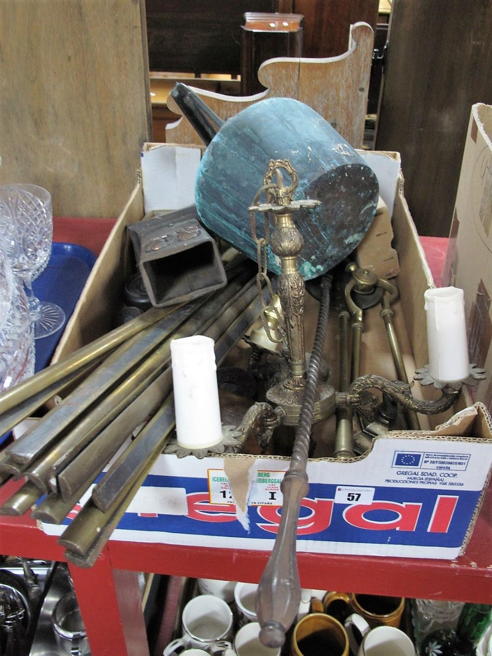 Lot 57 - Early XX Century Brass Stair Rods, scale weights (1/4 ounce to 2lb), fireside companion items,