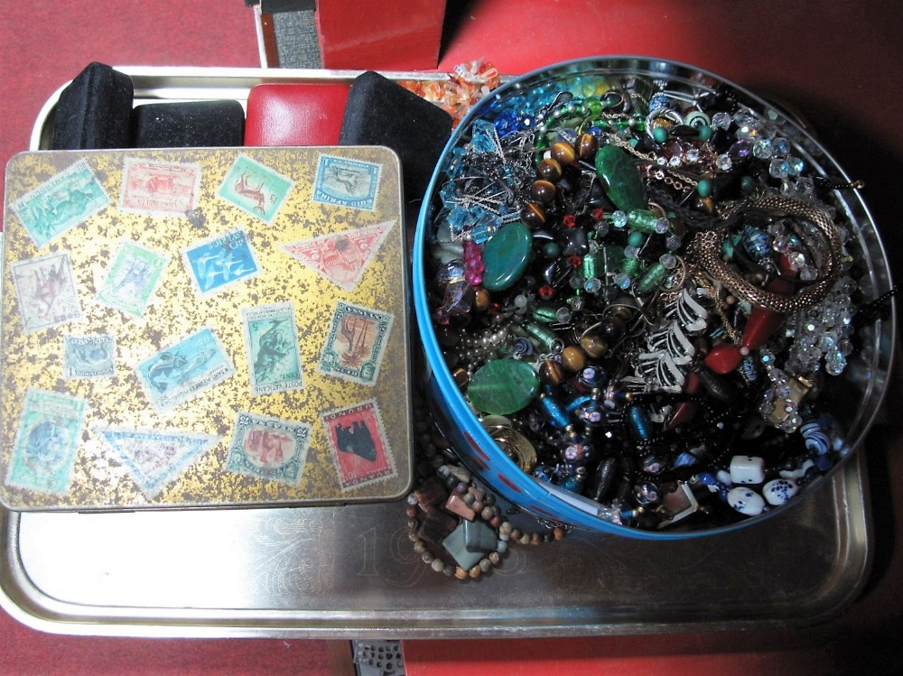 Lot 20 - Costume Jewellery, to include rings, necklaces, earrings in tins:- One Tray