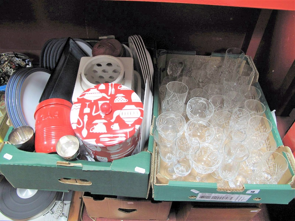 Lot 19 - Chasseur Oven Dishes, plates, etc; together with a box of glassware including tumblers, wine