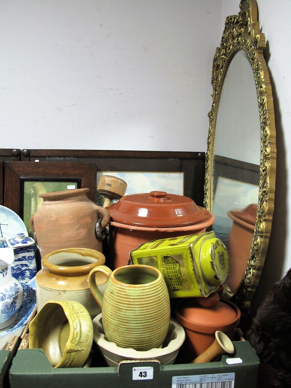 Lot 43 - Terracotta Kitchen Storage Jars, amphora type vessel, jelly mould, butter pats, together with