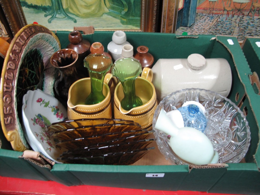 Lot 14 - XIX Century Stoneware Bottles, amber glass plates, bread plate (damaged), Spode dish, Sadler jugs,
