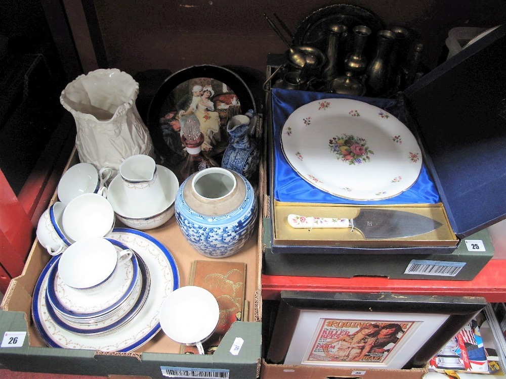 Lot 26 - A Coalport Cake Plate and Slice, (boxed), Bleu De Roi table ware, Kirkham jug, Chinese blue and