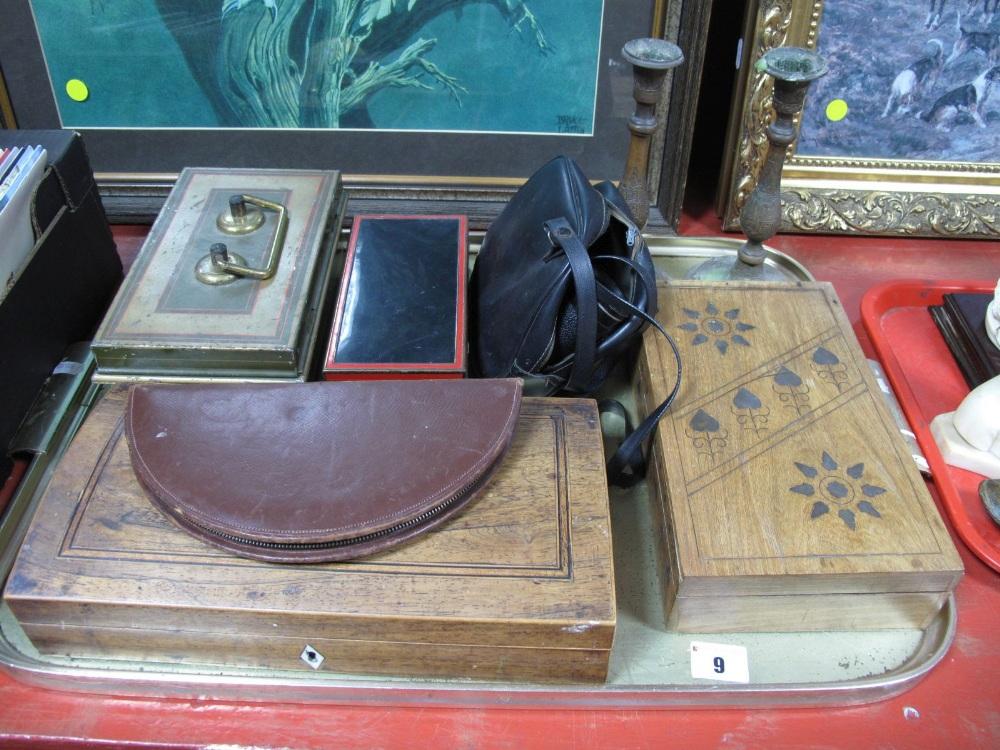 Lot 9 - An Art Deco Black Metal Box, cash tin, Art Nouveau inlaid hardwood box, candlesticks, etc:- One