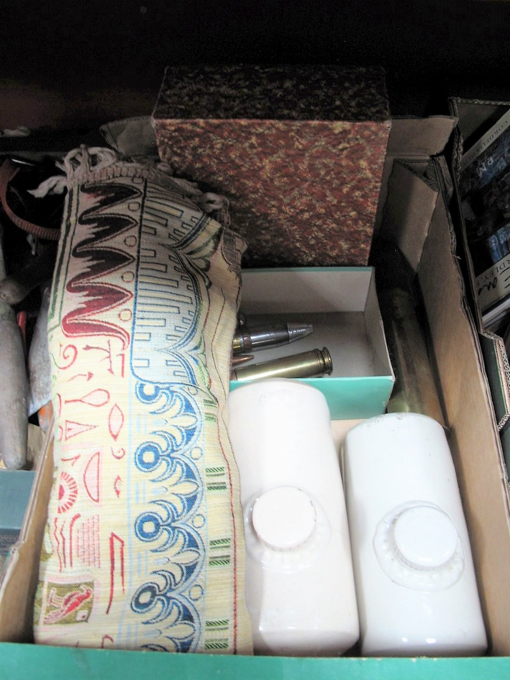 Lot 28 - Two Govancroft Stoneware Foot Warmers, bible, tassled 'silk' rug, shells, etc:- One Box