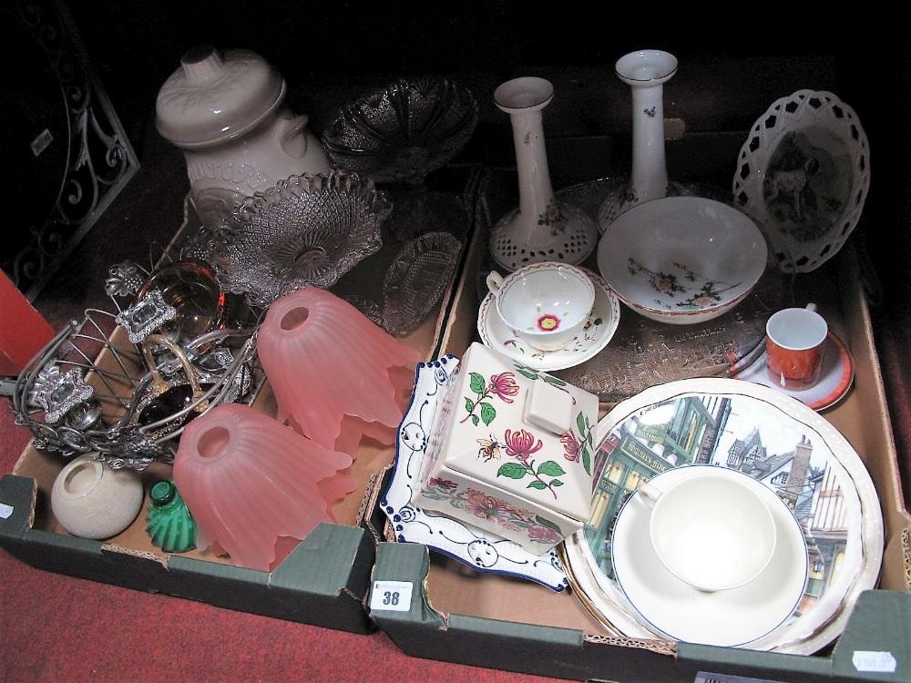 Lot 38 - A Rumtopf Jar, two press moulded pedestal dishes, amber glass dish, cast metal fruit basket, pink