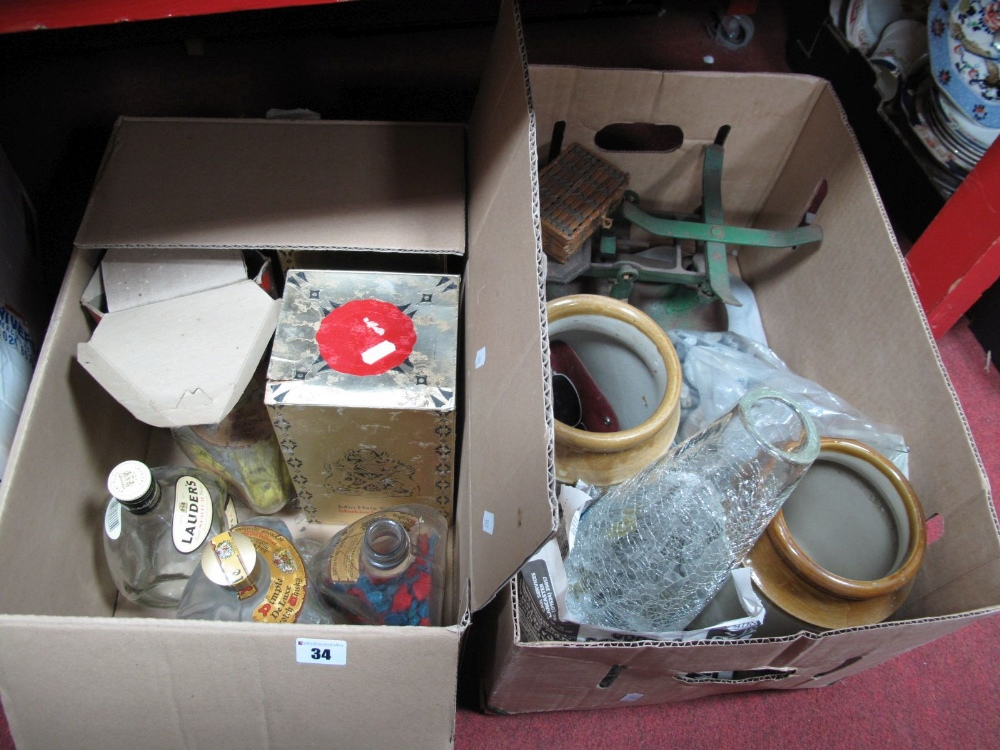 Lot 34 - Scales, stoneware jars, minerals, empty whisky bottles, etc:- Two Boxes