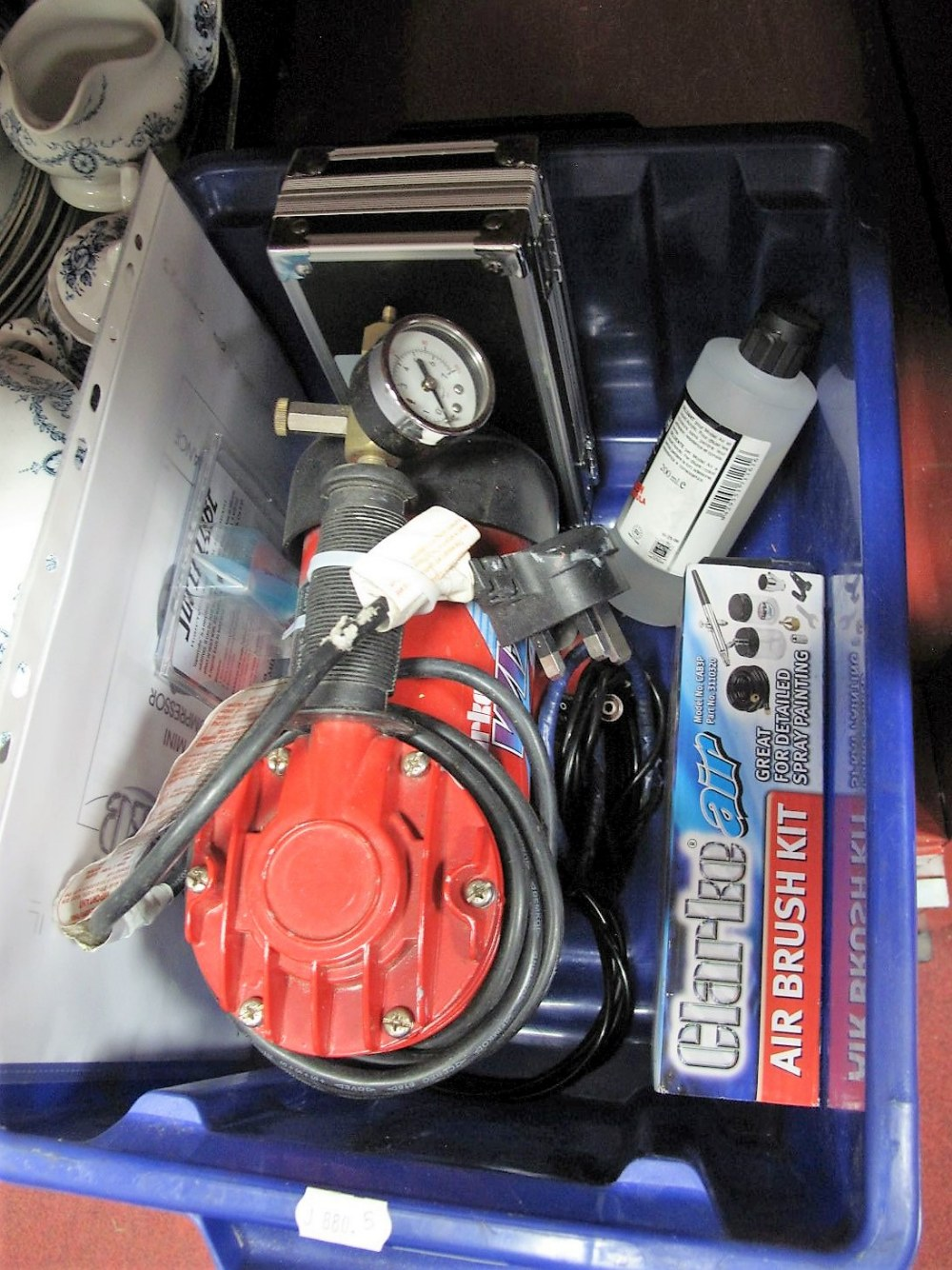 Lot 22 - A Clarke Wiz-Mini Air Compressor, brush kit, etc; (untested sold for parts).