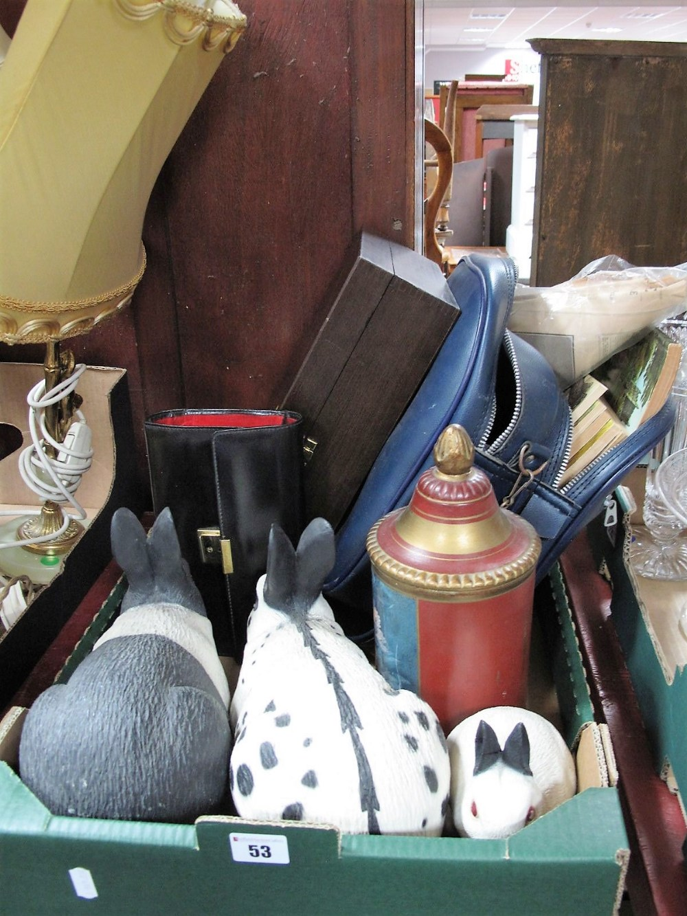 Lot 53 - Resin Rabbits, Giles magazines, Remy Martin glasses, purse, etc:- One Box