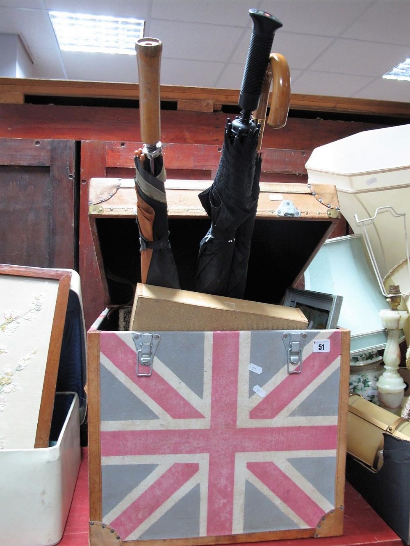 Lot 51 - Prints, gent's umbrella, golf umbrella, in a Union Jack trunk.