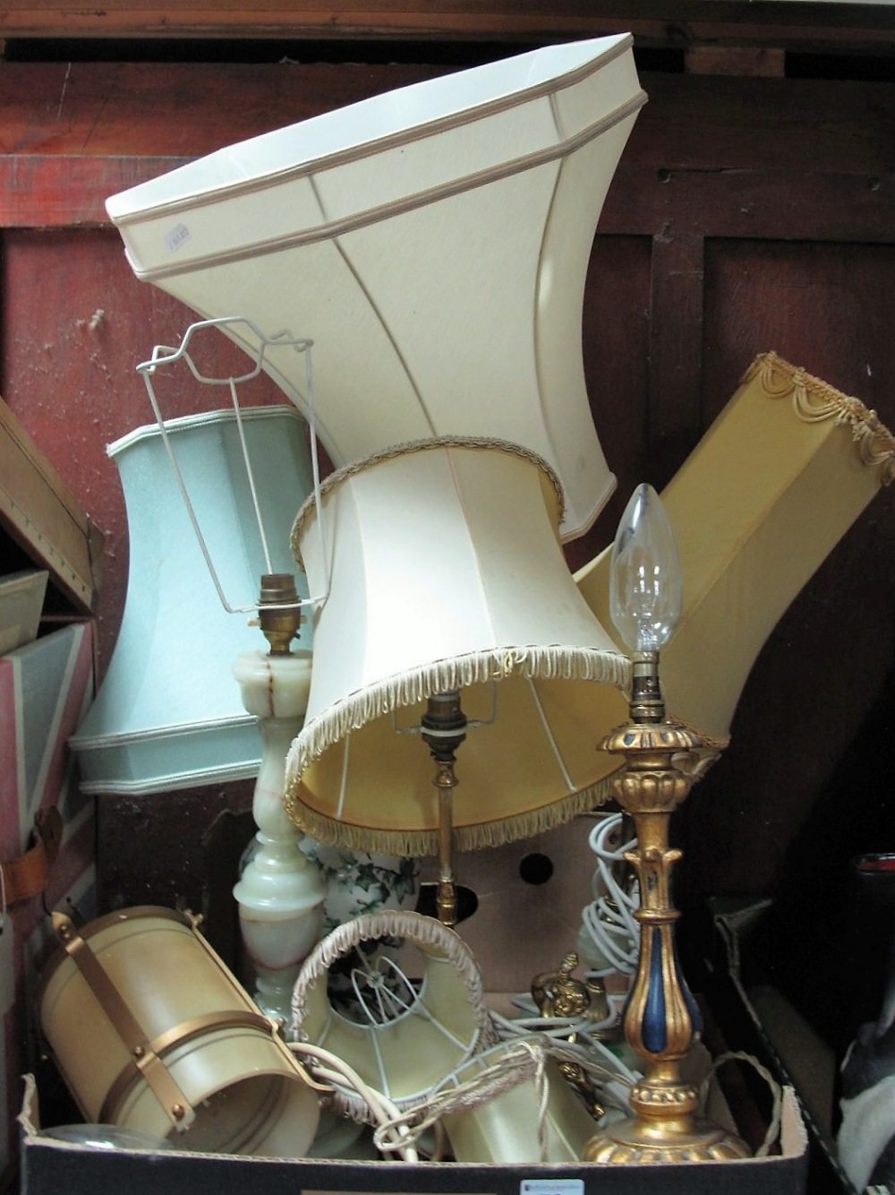 Lot 52 - Three Onyx Table Lamps, two gilded examples, ivy leaf lamp and ceiling light:- One Box