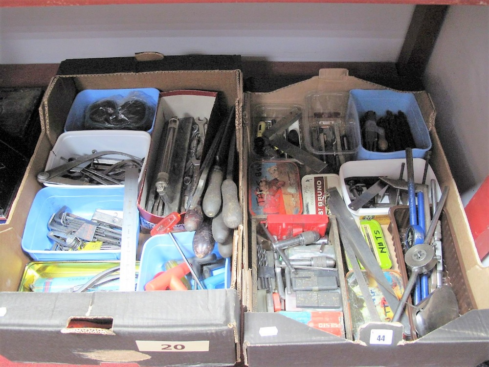 Lot 44 - Tools, comprising files, Allen keys, rules, gauges, tap and dies, drill bits, locks, goggles,