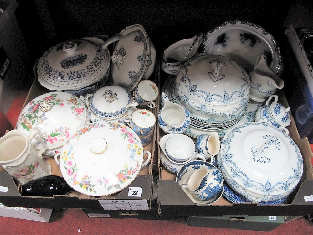 Lot 23 - Blue and White Transfer Printed Dinnerwares, including Losol ware tureens, Coalport and Wedgwood