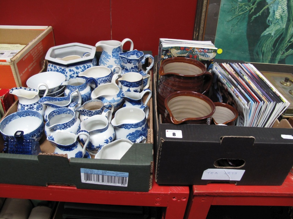 Lot 8 - Blue and White Transfer Printed Wares, including jugs, planter, dishes, model dwelling, etc, by