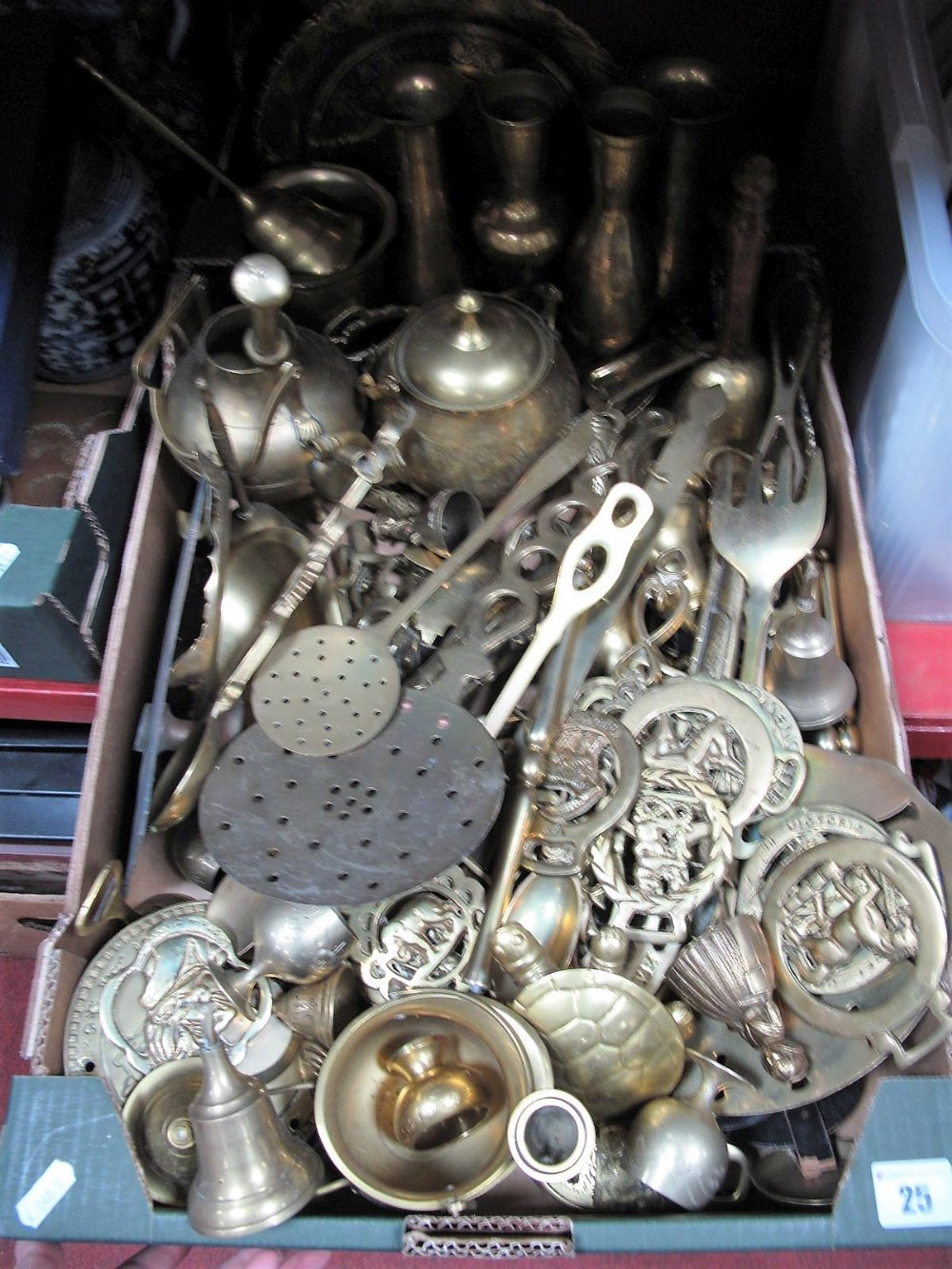 Lot 25 - Decorative Brass Ware, martingales, pestles, bell, skimmers, vases, etc:- One Box