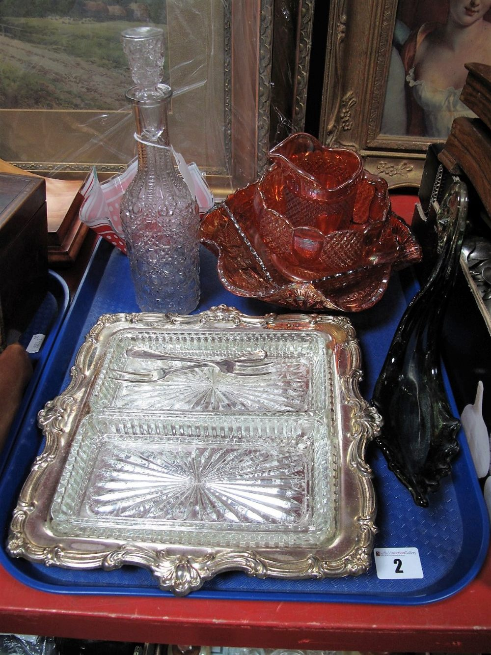 Lot 2 - Hors d'oeuvre's, handkerchief vase, carnival glassware, decanter, swan:- One Tray